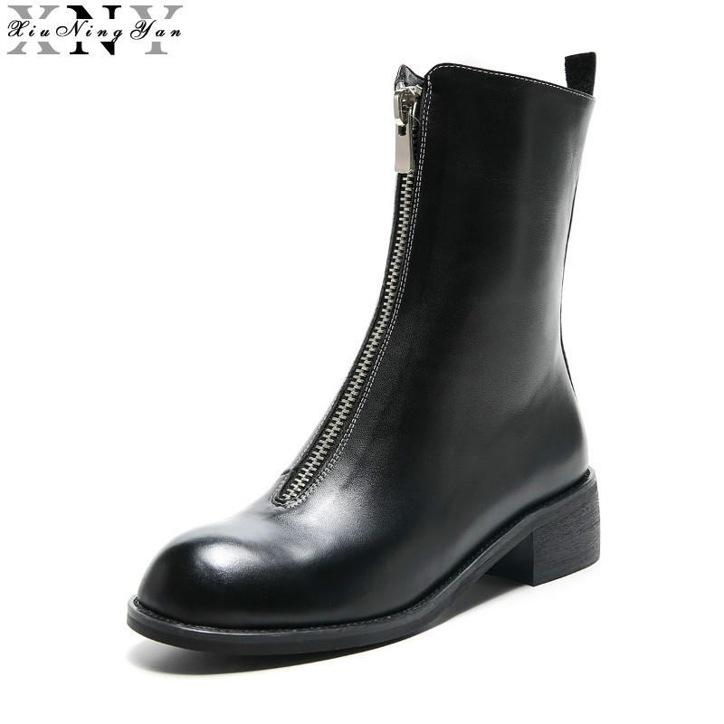 XiuNingYan Women Boots 100% Full Genuine Leather Round Toe Falt Thick Heel Women Winter Boots Behind Zip Mid-calf Boots 34-39 spring black coffee genuine leather boots women sexy shoes western round toe zipper mid calf soft heel 3cm solid size 36 39 38