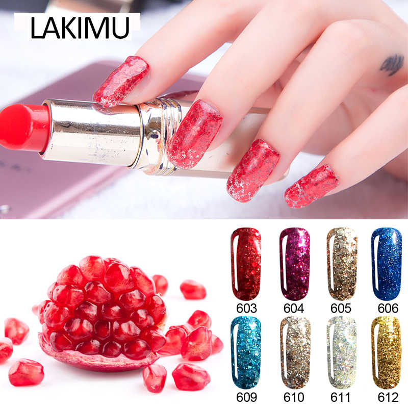 LAKIMU 8ml Glitter UV Gel Nail Polish Gorgeous Color Nail Art Semi-permanent UV Varnishes Shining Glitter Diamond Gel Polish