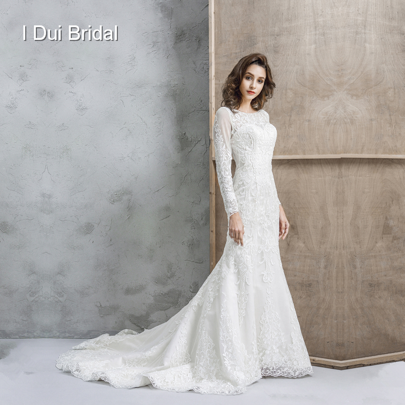 Long Sleeve Lace Wedding Dress Sheath High Quality Fabric