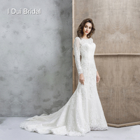 Long Sleeve Lace Wedding Dress Sheath High Quality Fabric and Design