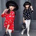 2017 Hot Sale Outono Inverno das Crianças Vestuário de Moda Camisola Espessamento Dot Knitting Preto Vermelho Da Menina Do Miúdo da Menina camisola