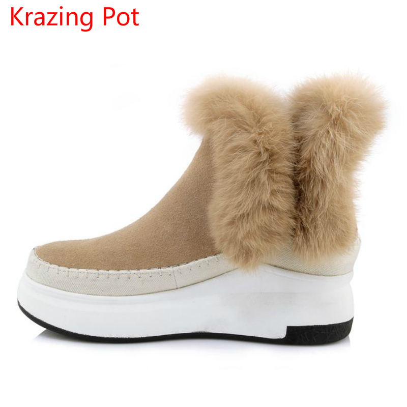 2018 New Arrival Fashion Genuine Leather Round Toe Slip on Keep Warm Winter Boots Runway Handmade Fur Casual Women Snow Boots L1 riding winter boots feathers 2015 new fashion korean metal decoration genuine leather elevator pull on pure color round toe
