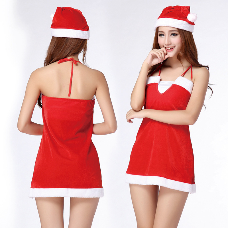 With Hat Red Lolita <font><b>Christmas</b></font> Cosplay Uniform <font><b>Sexy</b></font> Lingerie <font><b>Costumes</b></font> <font><b>Sexy</b></font> Babydolls <font><b>Outfit</b></font> Underwear Nightgowns Sleepwear image