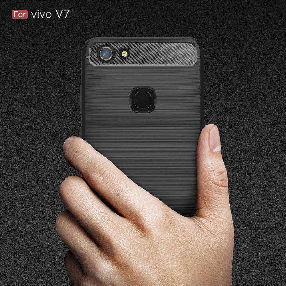 Vivo V7 Case Silicon Cover Case for Vivo V7 Vivo V7 Plus phone case V 7 Soft Carbon Fiber Brushed Fundas Coque Etui Accessory