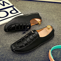 Men Casual Loafers Flat Shoes Men Superstar Lace-up Solid Soft Leather Slip On Shoes Men Causal Breathable Driving Shoes Hombre