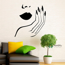 Modern Style Salon Girls Wall Decal Sexy Woman Lips Hand Nails Vinyl Wall Stickers Removable Interior DIY Beauty Home Decor