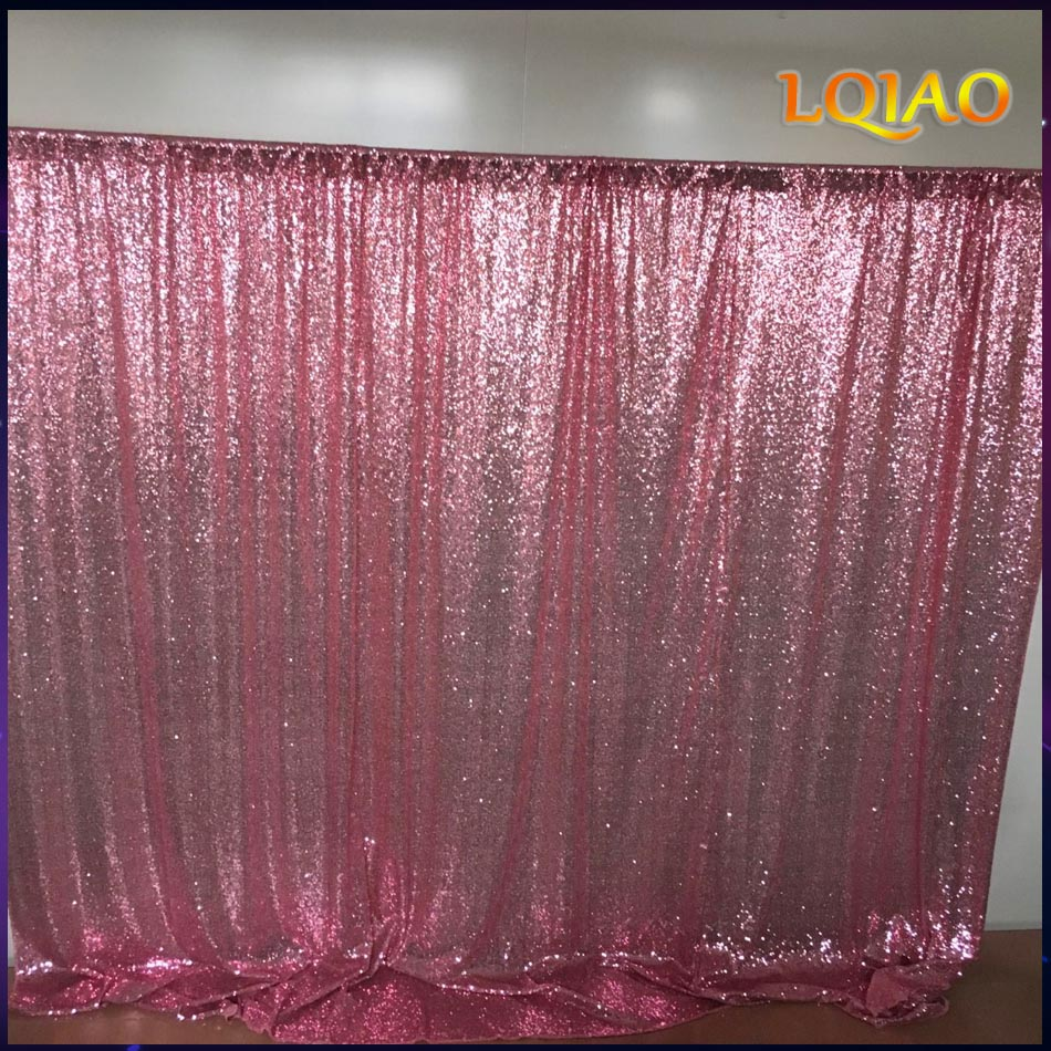 10x10FT Pink Gold / Champagne Sequin Fabrik Backdrop Wedding Backdrops Photo Booth untuk studio fotografi / Parti / Krismas Hiasan