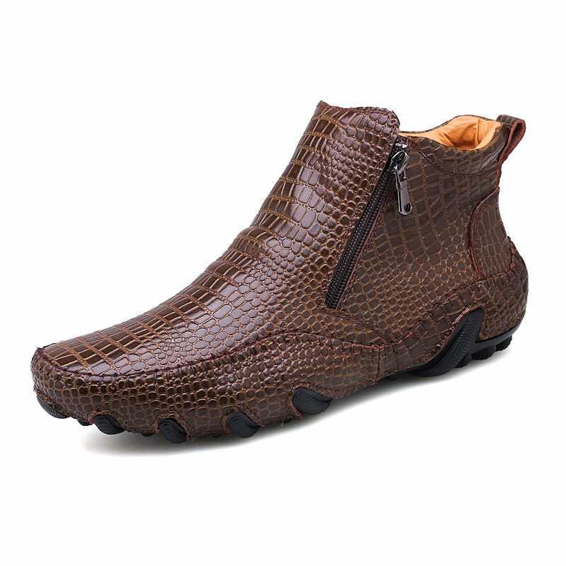 2019 Moda Sıcak Satış Kaliteli Deri Erkek Botları kış sıcak rahat ayakkabılar erkek ayakkabı Fermuar Erkek Ayak Bileği siyah çizmeler büyük boy 47