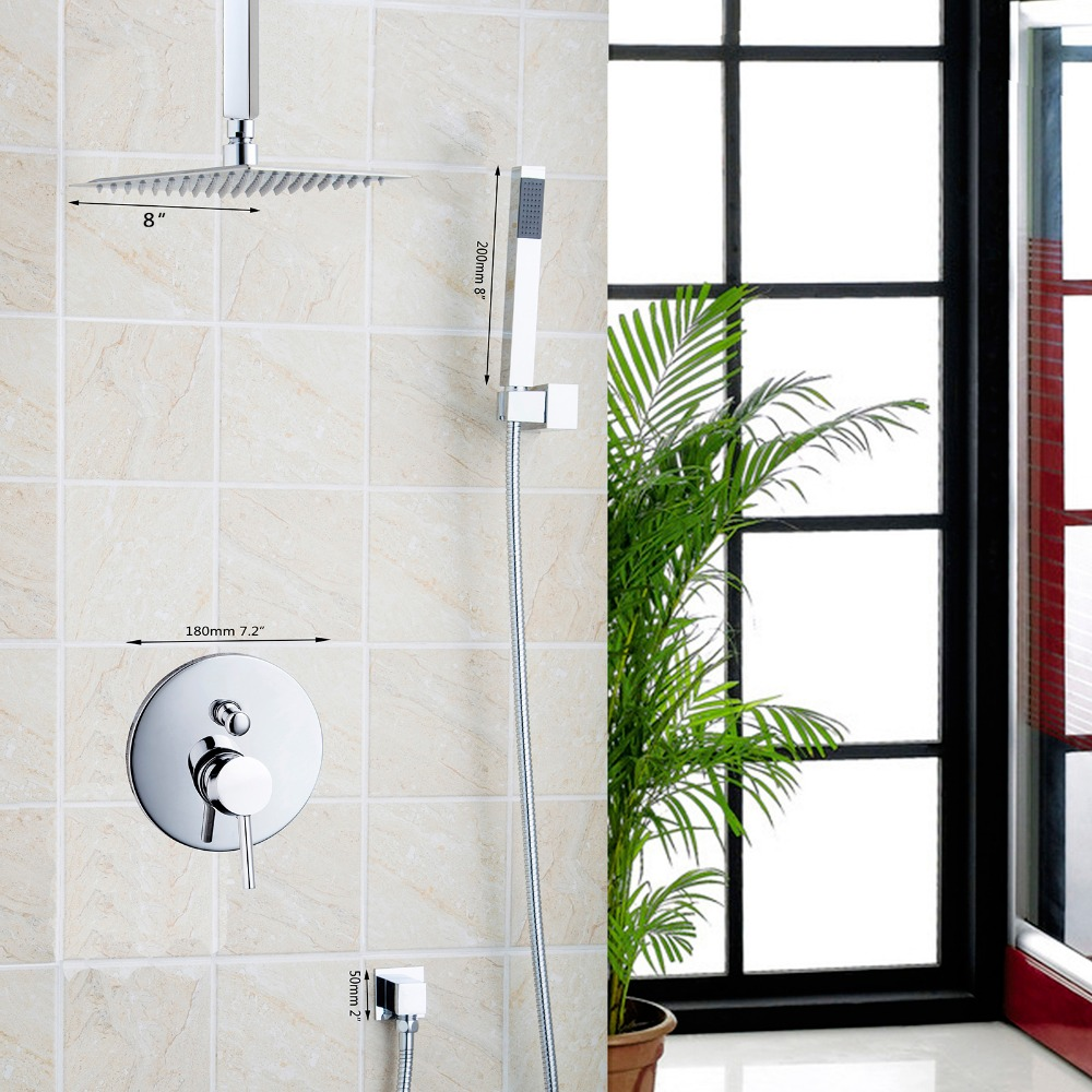 Bathroom Set Wall Mounted Rainfall  Shower Set  Square Shower Head 8 Shower Set with Hand Shower Set Faucets chrome finish good quality wall mounted square style brass waterfall shower set new bathroom shower with handle rainfall shower head