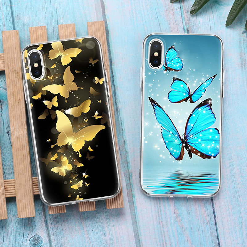 Luxury Gold Blue Butterfly Soft Clear Silicone TPU Phone Case Back Cover Accessories For iphone X 6 6Plus 6sPlus 7 7Plus 8 8Plus