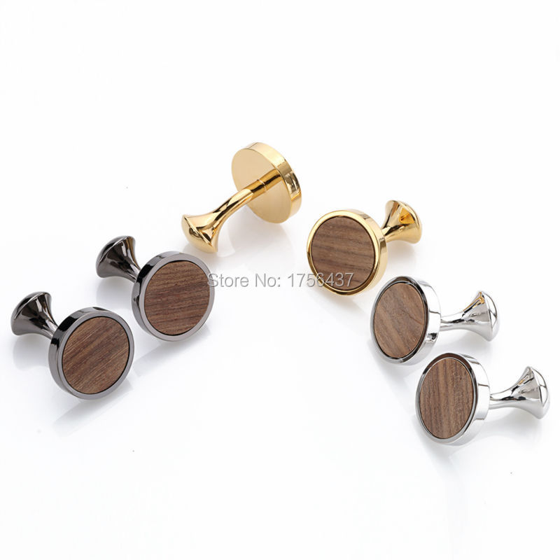 2016 Hot New Round Wood Cufflinks hedgehog sandalwood Cuff Links Wedding Best Men's Presents and Gifts for Men With Gift Box image