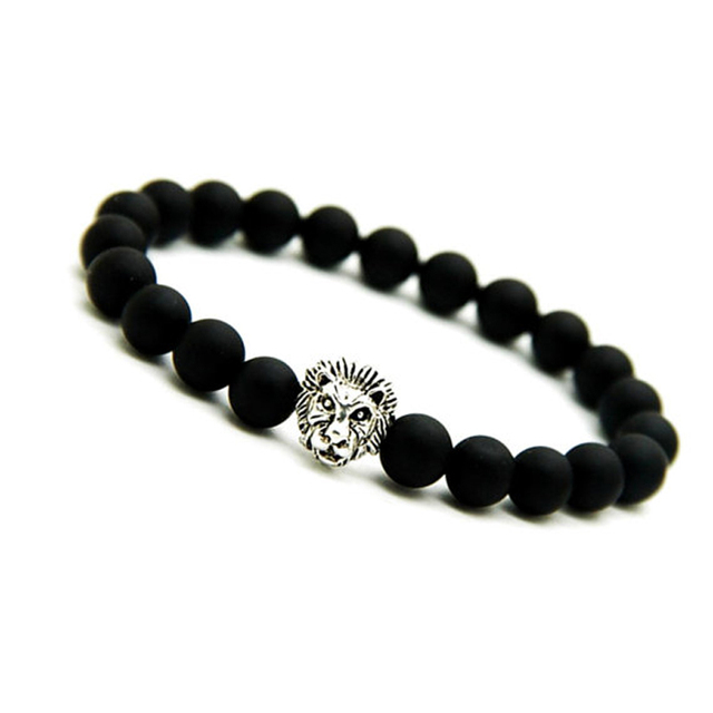 Sn0694 Matte Black Onyx Bracelet Silver Lion Mens Bracelets Stretch Men Mala