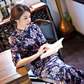 Modern Qipao Dress Chinese Dress for Women Velour Plus Size Long Cheongsam Dress Traditional Chinese Clothing for Women
