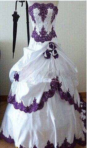 Achetez En Gros Pourpre Et Blanc De Mariage Robes En Ligne