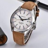 Corgeut 41 мм Мужские автоматические часы белый световой циферблат сапфировое стекло механические часы Miyota Mov не коричневый ремешок часы CA3021BSW