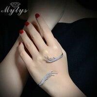 Mytys Wit Goud Mode Hand Palm Bangle Wit Goud Zirkoon Kralen Handlet Palm Manchet Armband R1095