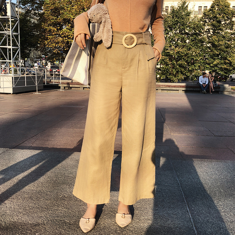 Wide     Leg     Pants   Women Loose Trousers Women 2019 Black High Waist Self Belted Box Pleated Palazzo   Pants   MX18C2718