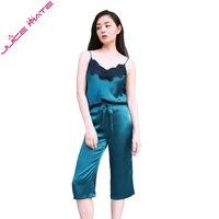 Pure Silk Summer Pyjamas Women Home Clothing Pyjamas Suits Lace Sleepwear Sleeveless Blouse Pants Real Silk