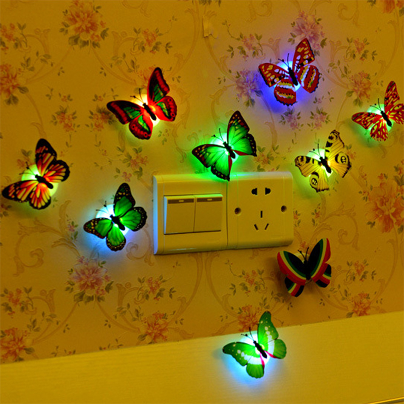oobest 10pcs Dragonfly Butterfly Wall Stickers LED Lights 3D Luminous Wall Decals Glowing Home Room Decoration For Girl glowing sneakers usb charging shoes lights up colorful led kids luminous sneakers glowing sneakers black led shoes for boys