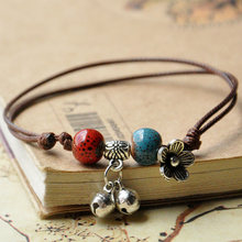 Silver Bell Bracelets Ceramic Beads Flower Charm Cuff Bangles Weave Rope Chain Wristbands Adjustable Ethnic Jewelry Anklet(China)