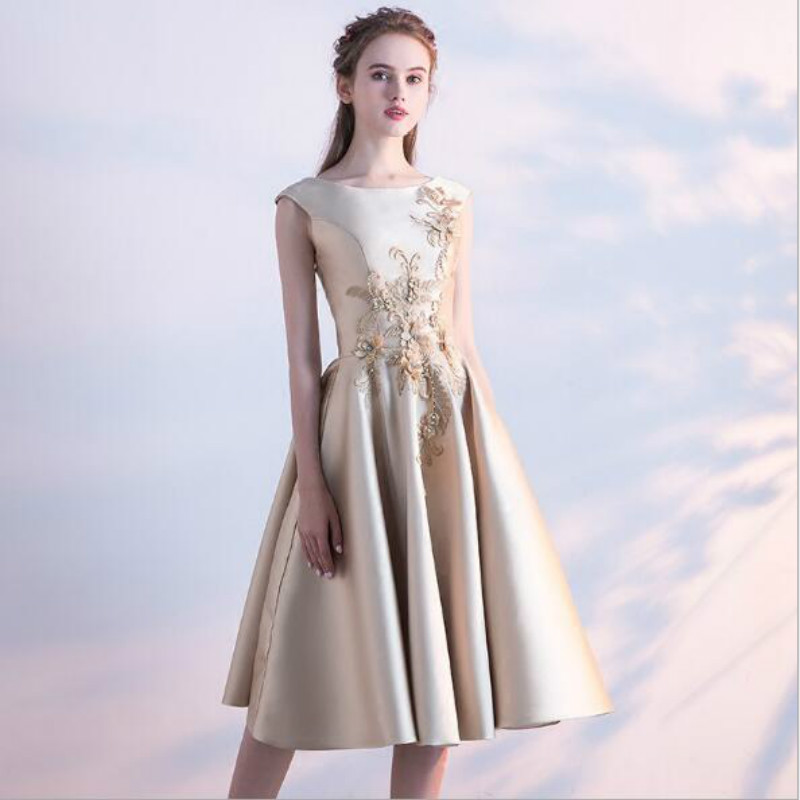 U-SWEAR 2019 New Arrival   Bridesmaid     Dresses   O-Neck Sleeveless Appliques Pearls A-Line   Dress   Elegant Slim Vintage Vestidos