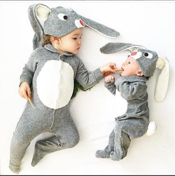 Детские Кролик Лепить Footies Хлопок Ткань С Уха Кролика Hat Toddle Детей Наборы Новинка Детская Одежда