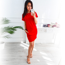Girls sweet casual short-sleeved pocket short skirt solid color multi-size dress free shipping