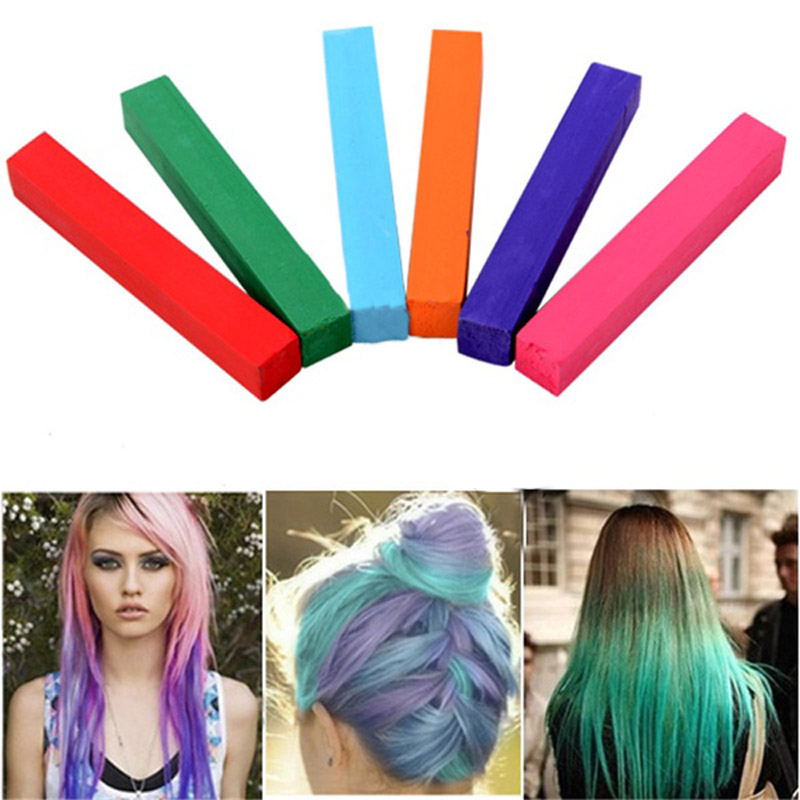 6pcs Hair Chalk Diy Easy Temporary Salon Colors Hair Chalk