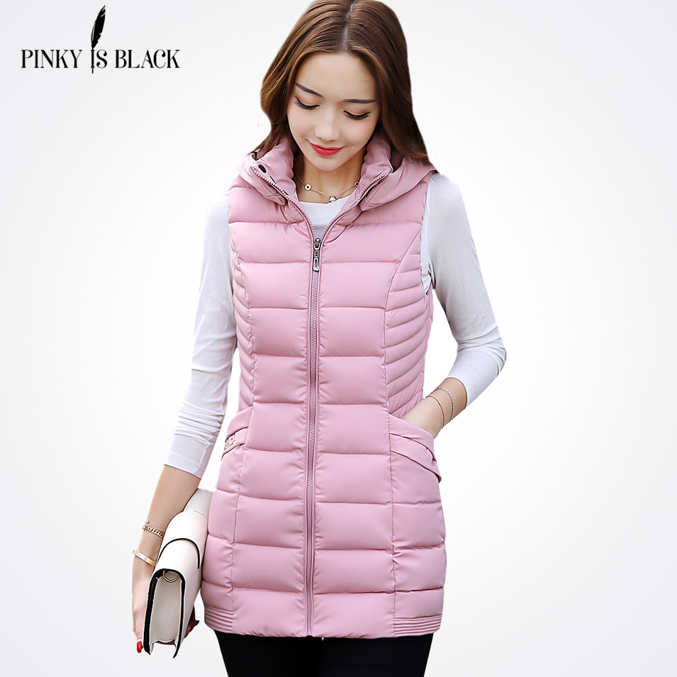 Pinky Is Black New Arrival 2017 Women Winter Vest Women Long Vest Jacket Sleeveless Hooded Down Cotton Slim Waistcoat Warm Vest