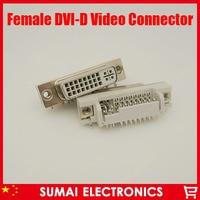 Free Shipping 10pcs DVI 29Pin To PCB 90 Degree Female Connector Plug 24 5 Pin Female