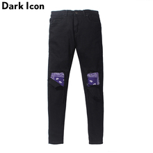 Dark Icon Bandana Patchwork Ripped on Knee Mens Jeans High Street Men Denim Pants