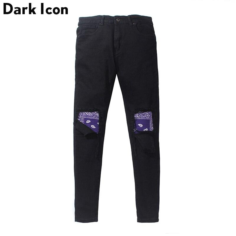 Dark icon bandana 패치 워크 무릎 남성 청바지 찢어진 하이 스트리트 청바지 남성 데님 바지-에서청바지부터 남성 의류 의  그룹 1