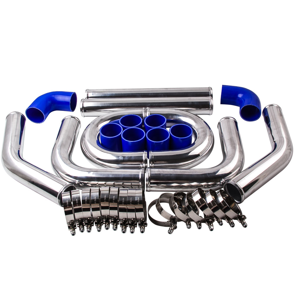 2.5inch 64mm Aluminum Universal Intercooler Turbo Piping pipe + Blue hose kits epman universal black 3 76mm polished aluminum fmic intercooler piping kit diy pipe length 600mm for bmw e46 ep lgtj76 600