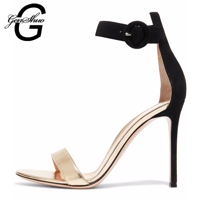 GENSHUO 2017 Women New Summer Fashion Sexy High Heel Gladiator Sandals Leather Ladies Elegant Peep Toe Ankle Strap Design Shoes  fashion summer shoes metallic leather pompom caged ankle strap sandals peep toe cut outs spike heel gladiator sandals miquinha