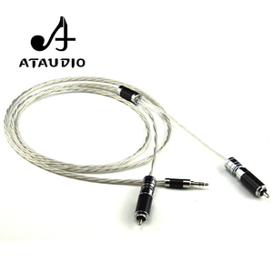 Image 2 - ATAUDIO Hifi Silver plated 3.5mm to 2rca Cable Hi end 3.5 Aux to Double RCA MP3/MP4  Computer Amplifer Interconnector Cable