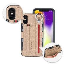 Heavy duty proteção phone Case para iphone xs max xr 8 7 6 5 6S Plus anti zero Carteira caseCard Bolso tampa Anel de Dedo