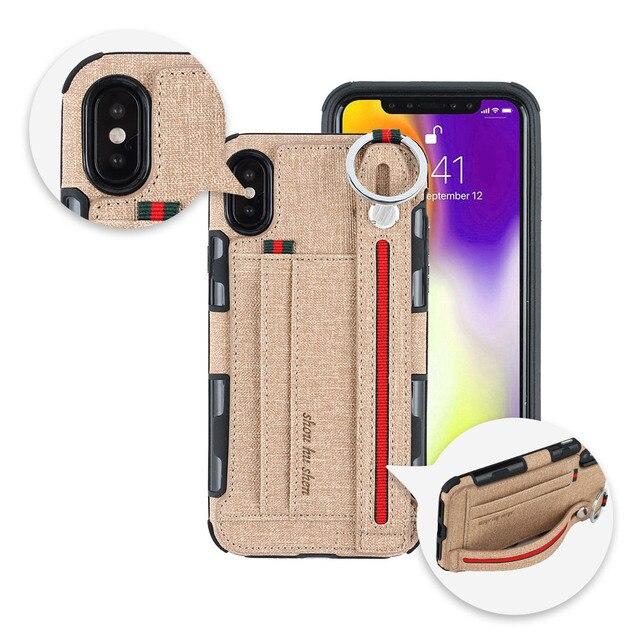 כבד החובה הגנת טלפון מקרה עבור iphone xs max xr 8 7 6 5 6S בתוספת אנטי שריטה ארנק caseCard כיס אצבע טבעת כיסוי
