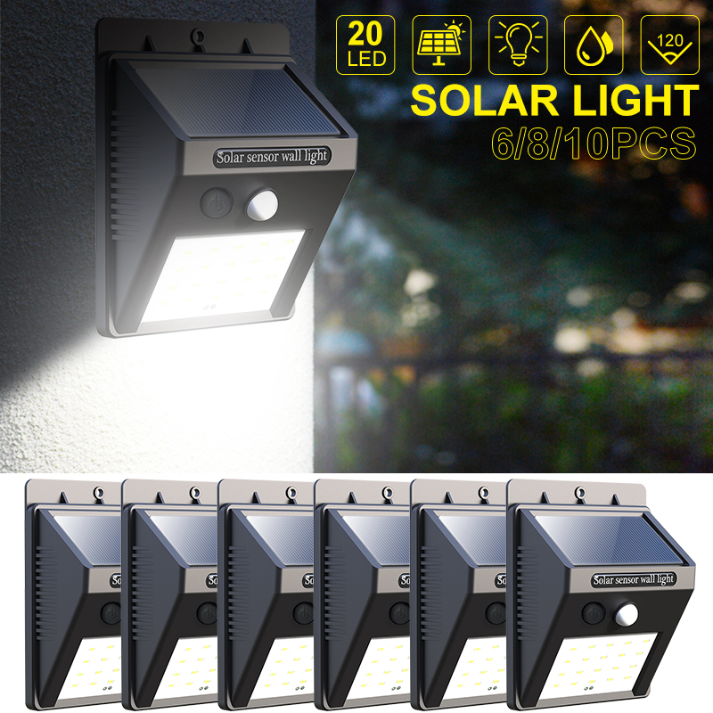 6 8 10 Packs 20 LED Security Wall Lamp Solar Lamp Waterproof IP65 Solar Lights Outdoor