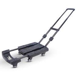 440lbs 360 girar roda carro dobrável carrinho de bagagem caminhão de mão para o carro viagem acessório bagagem reboque chassi ajustável