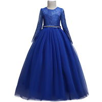 High End Summer Tulle Lace Pageant Flower Girl Dresses for Girls long sleeve lace dress Zircon Elegant Piano performance Princes