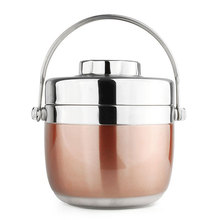 Portable Stainless Steel Insulated Lunch Box Creative School Student 2 Layer Barrel Soup Bento