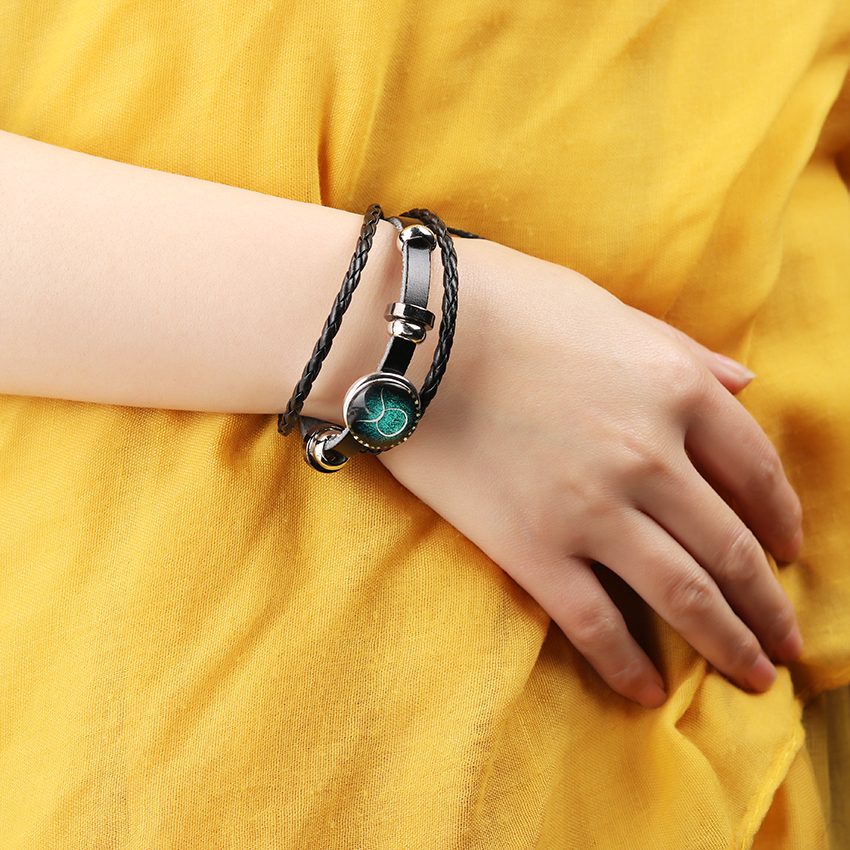 1PC Black Leather 12 Constellation Bracelet Zodiac Icons Leather Bracelet Braided Leather Lovers Men Women Bracelets