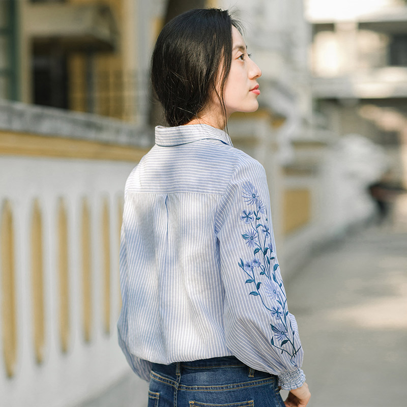 Image 2 - INMAN Spring Autumn Blouse Turn Down Collar Embroidery Stripped Loose Style All Matched Women Tops BlouseBlouses & Shirts   -