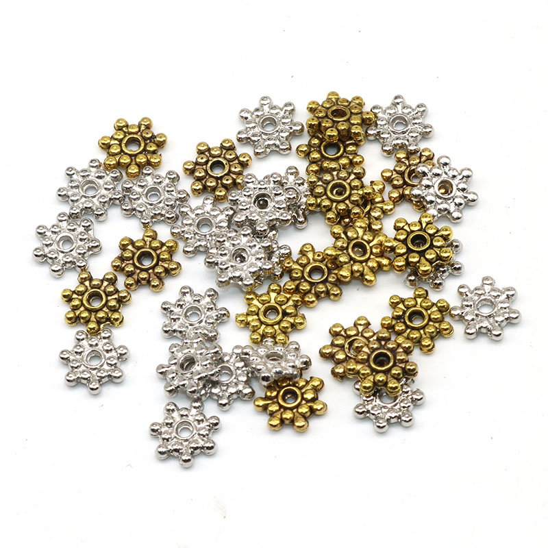 200pcs New Silver Tibetan Spacer Beads Snowflake Charms Jewelry Craft 10mm