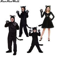ניו ליל כל הקדושים ילדים מבוגרים משחק תפקידים שחור קטן של זוג Wildcat משפחת סרבל ביצועי שלב אחיד חתול חמוד