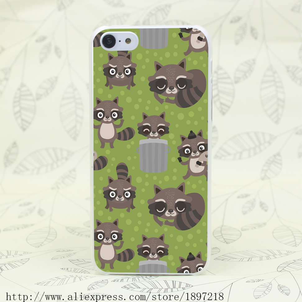 4125T Seamless Cartoon Raccoon Hard Transparent Cover Case for iphone 4 4s 5 5s 5C SE 6 6s Plus 7 7 Plus