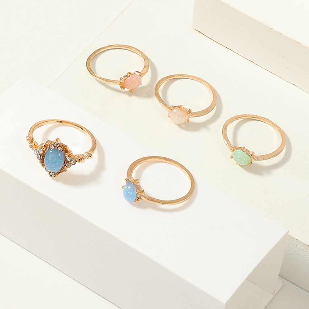 5 ชิ้นแหวนหัวใจเครื่องประดับสแตนเลสอุปกรณ์เสริมเงินชุดแหวนนิ้วมือเครื่องประดับหญิงใหม่