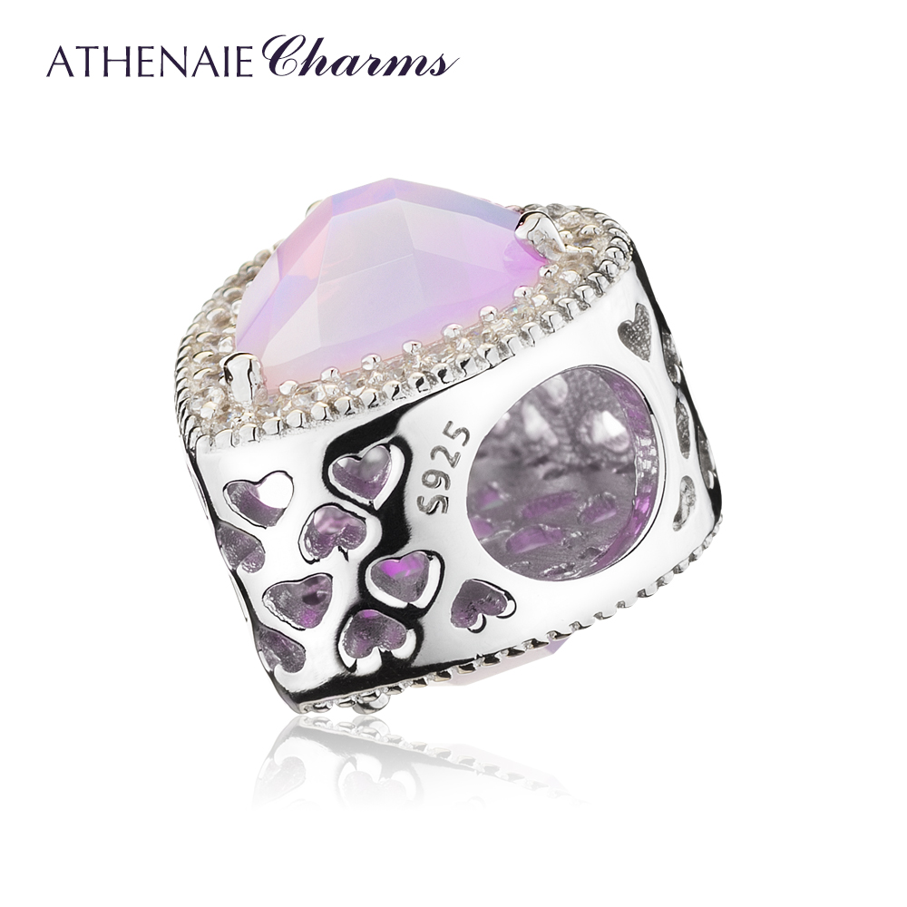 Image 4 - ATHENAIE 925 Sterling Silver Radiant Hearts Charms Beads Pave Opalescent Pink Crystal & Clear CZ Fit Bracelets Women Christmas-in Beads from Jewelry & Accessories