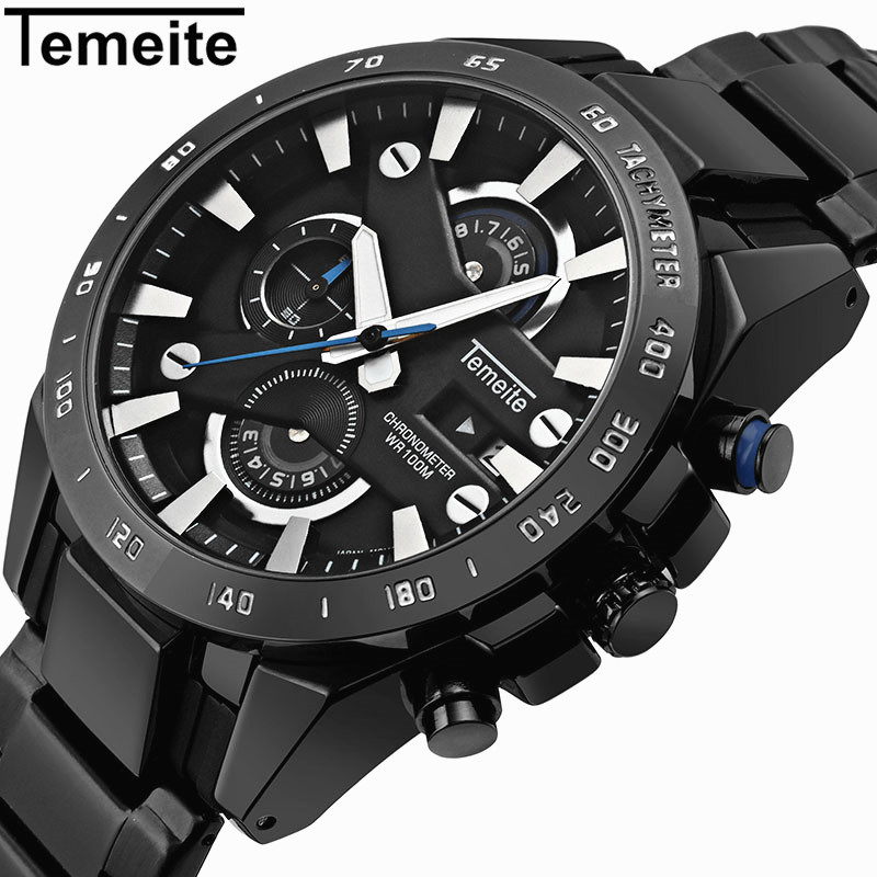 Temeite Men Sport Watch Waterproof Brand Luxury Quartz Men's Wristwatch 6 Pointer Chronograph Date Military Male Clock Hodinky