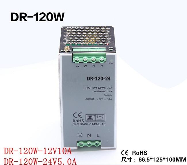 все цены на Din rail Single Output Switching power supply DR-120-24 120W 24V 5A ac dc converter онлайн